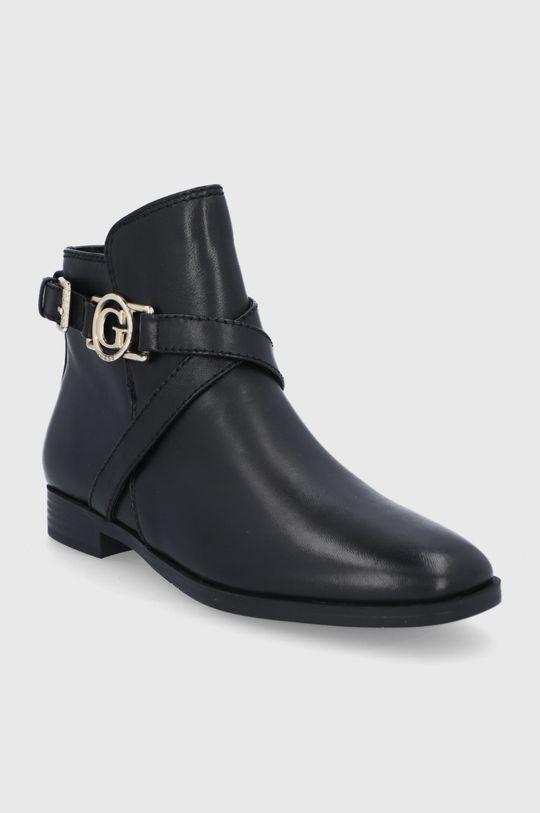 Guess - Kožené kotníkové boty černá