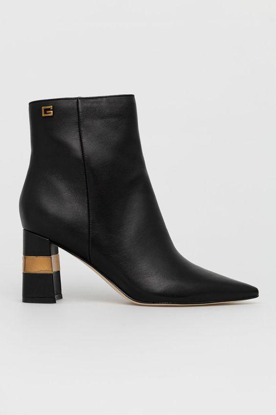 černá Guess - Kožené kotníkové boty Dámský