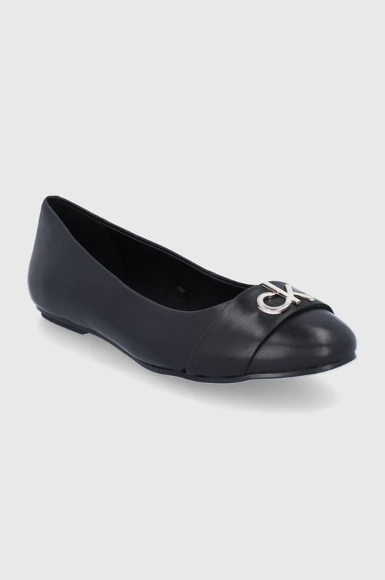 Calvin Klein - Baleriny skórzane czarny