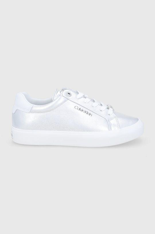 stříbrná Calvin Klein - Kožené boty Dámský