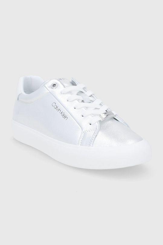 Calvin Klein - Kožené boty stříbrná
