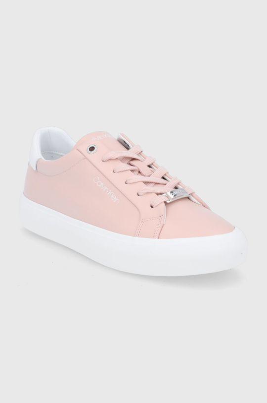 Calvin Klein - Buty skórzane pastelowy różowy
