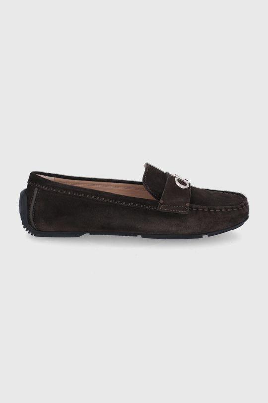 ciemny brązowy Calvin Klein - Mokasyny zamszowe Damski