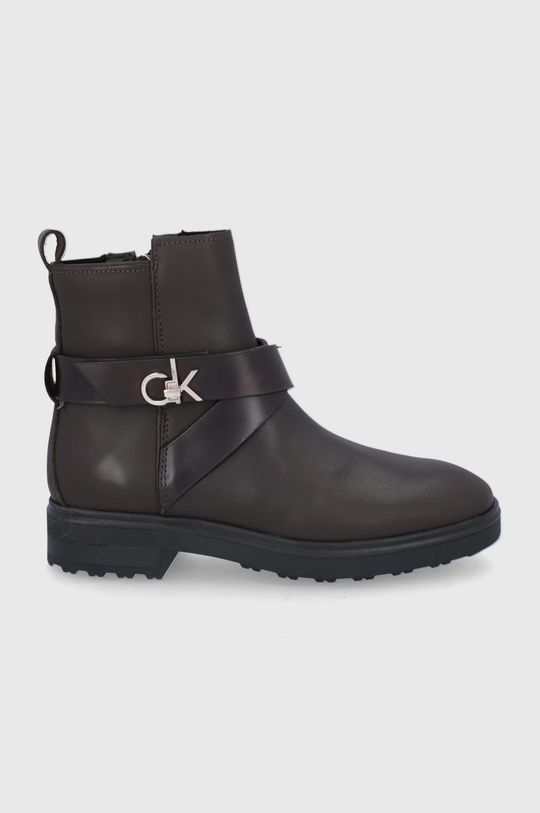 ciemny brązowy Calvin Klein - Botki skórzane Damski