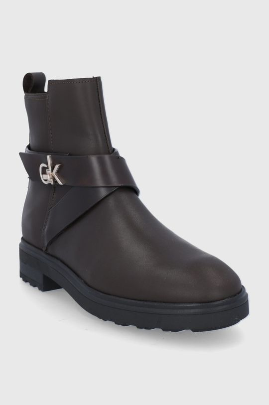 Calvin Klein - Botki skórzane ciemny brązowy