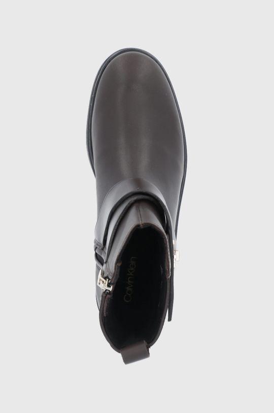 ciemny brązowy Calvin Klein - Botki skórzane