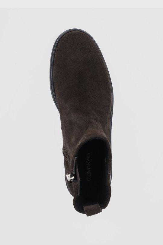 ciemny brązowy Calvin Klein - Botki zamszowe