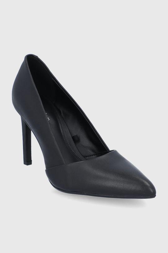 Calvin Klein - Kožené kotníkové boty černá