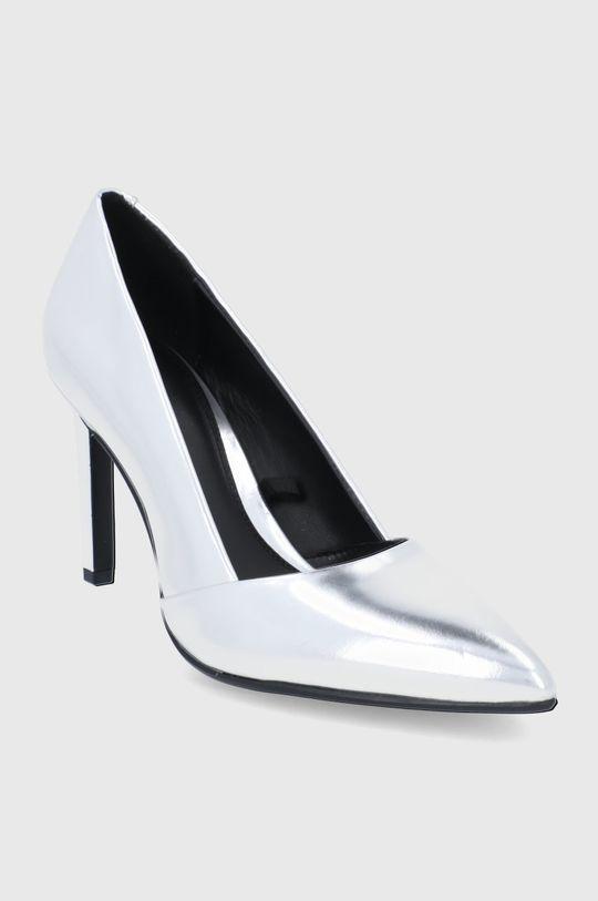 Calvin Klein - Szpilki skórzane srebrny