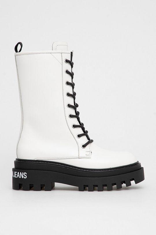 biały Calvin Klein Jeans - Workery skórzane Damski