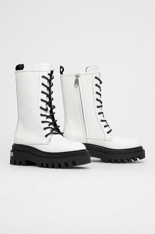 Calvin Klein Jeans - Workery skórzane biały