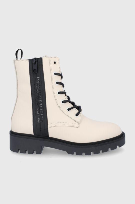 kremowy Calvin Klein Jeans - Workery skórzane Damski