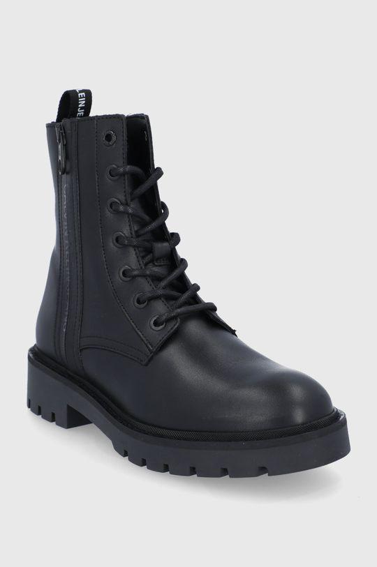 Calvin Klein Jeans - Workery skórzane czarny