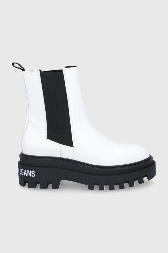 biały Calvin Klein Jeans - Sztyblety skórzane Damski