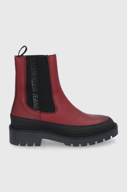 czerwony Calvin Klein Jeans - Sztyblety skórzane Damski