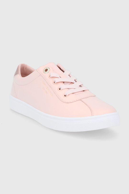 Tommy Hilfiger - Kožené boty pastelově růžová