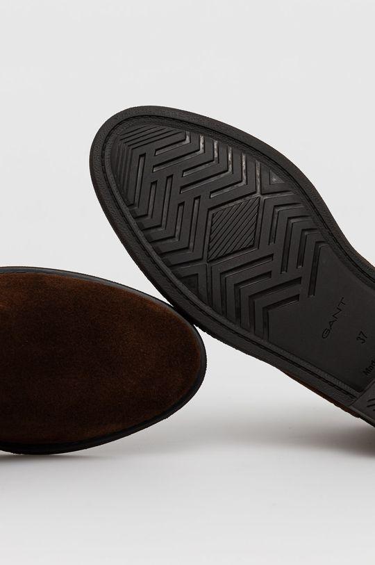 ciemny brązowy Gant - Sztyblety zamszowe Ainsley