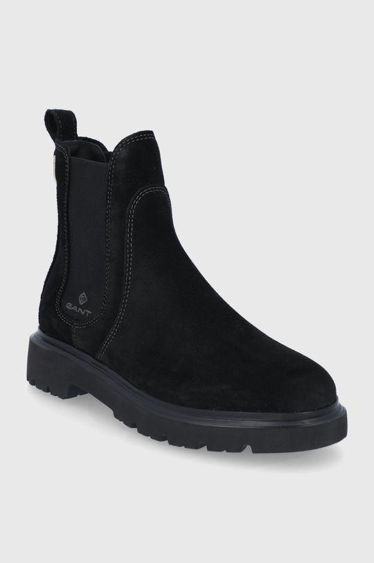 Gant - Semišové topánky Chelsea Malinca čierna