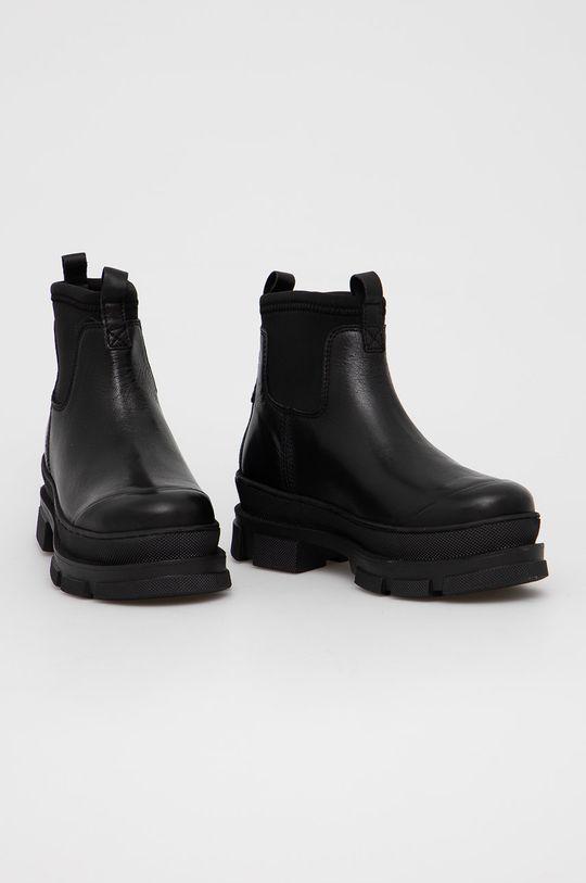 Aldo - Kožené kotníkové boty Puddle černá