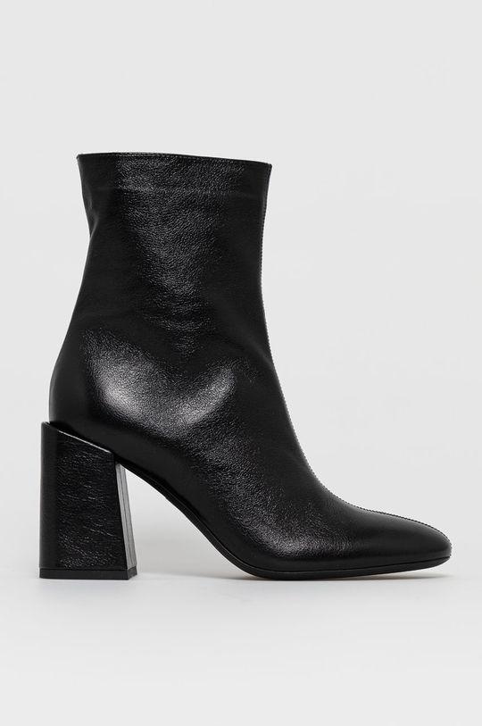 čierna Furla - Kožené členkové topánky Dámsky