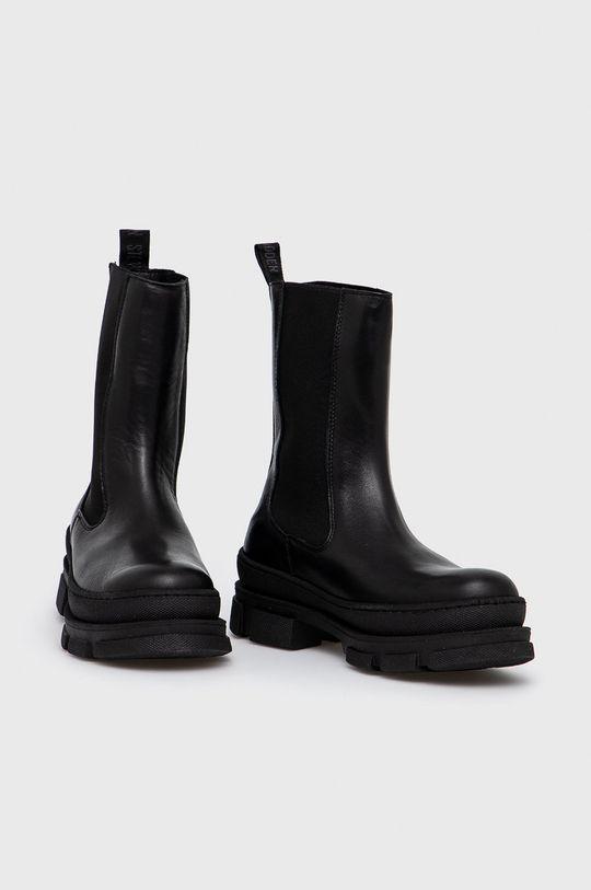 Steve Madden - Kožené kotníkové boty Filina černá