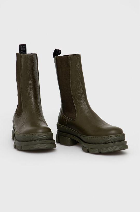 Steve Madden - Kožené kotníkové boty Filina tlumená zelená