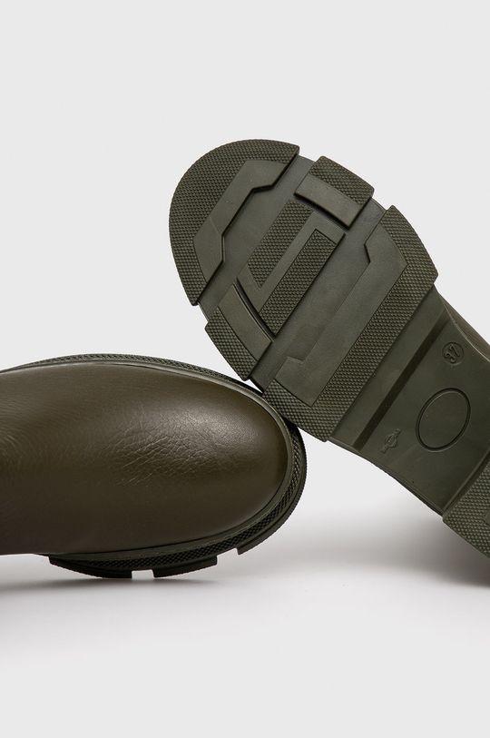 tlumená zelená Steve Madden - Kožené kotníkové boty Filina