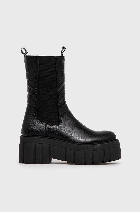 černá Steve Madden - Kožené kotníkové boty Dámský
