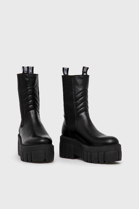 Steve Madden - Kožené kotníkové boty černá