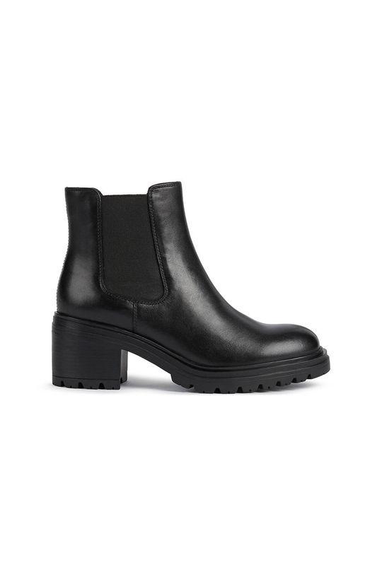 černá Geox - Kožené kotníkové boty Dámský