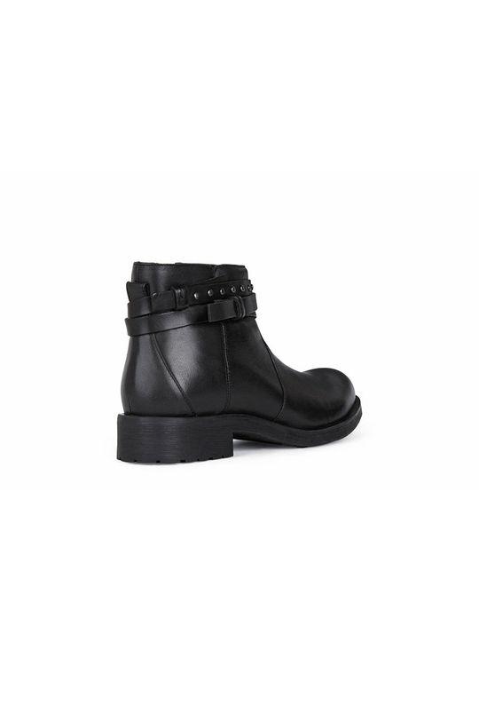černá Geox - Kožené kotníkové boty