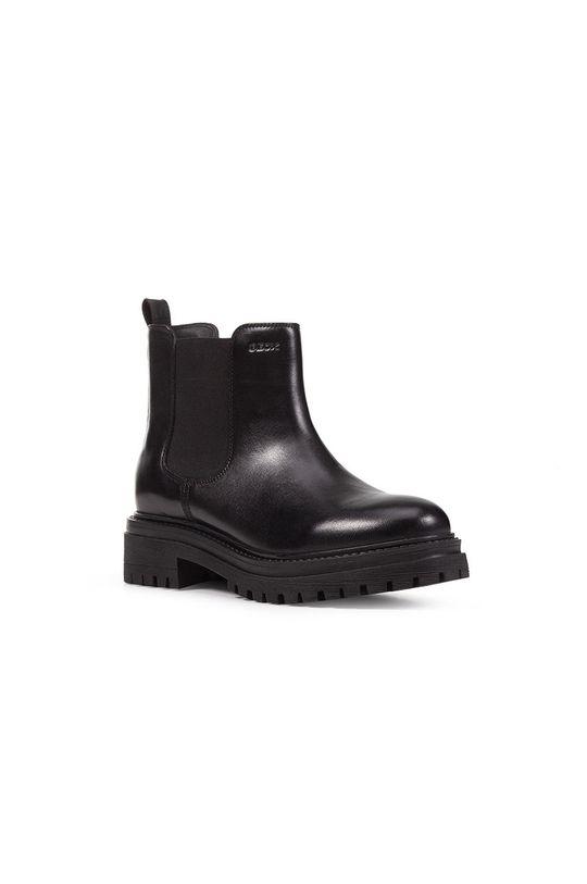 Geox - Kožené kotníkové boty černá