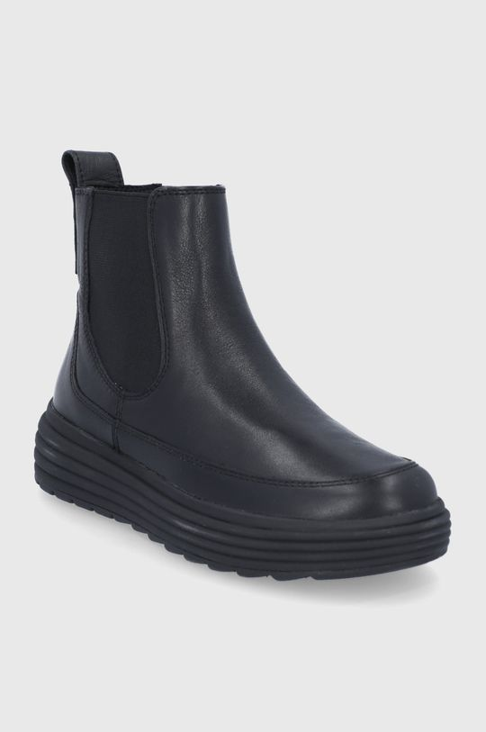 Geox - Kožené topánky Chelsea čierna