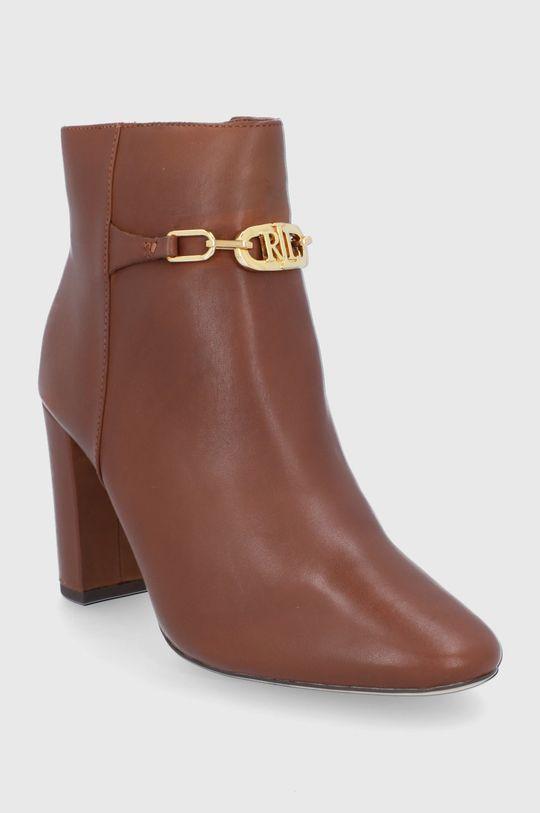 Lauren Ralph Lauren - Kožené kotníkové boty hnědá