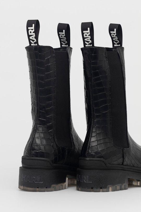Karl Lagerfeld - Sztyblety skórzane Cholewka: Skóra naturalna, Wnętrze: Skóra naturalna, Podeszwa: Materiał syntetyczny