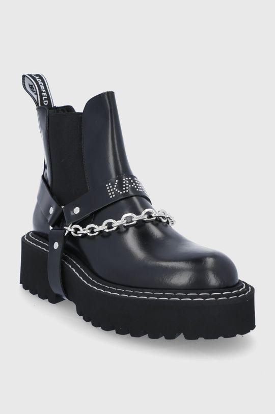 Karl Lagerfeld - Sztyblety skórzane czarny