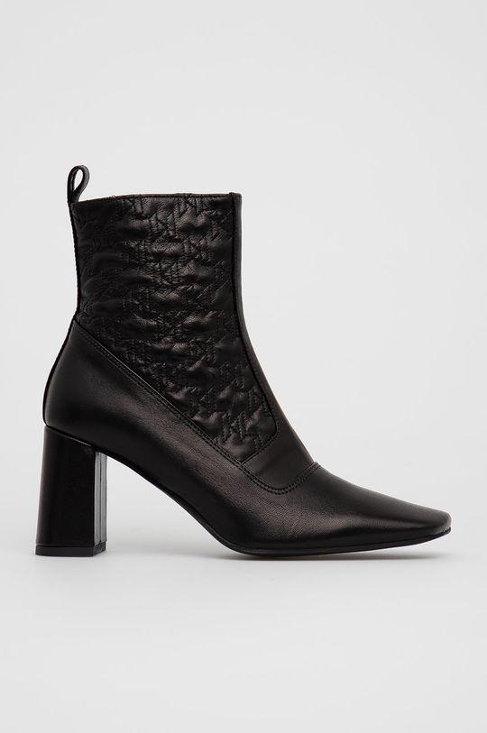 černá Karl Lagerfeld - Kožené kotníkové boty Dámský