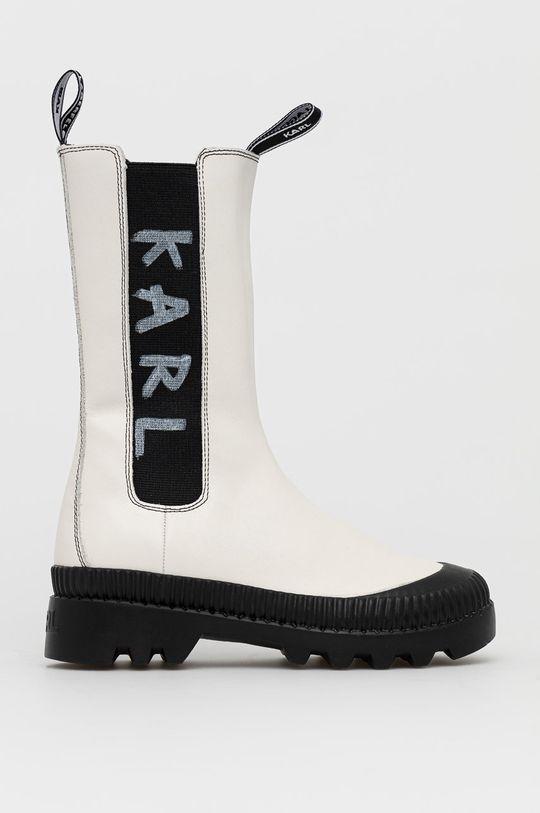 biały Karl Lagerfeld - Sztyblety skórzane Damski