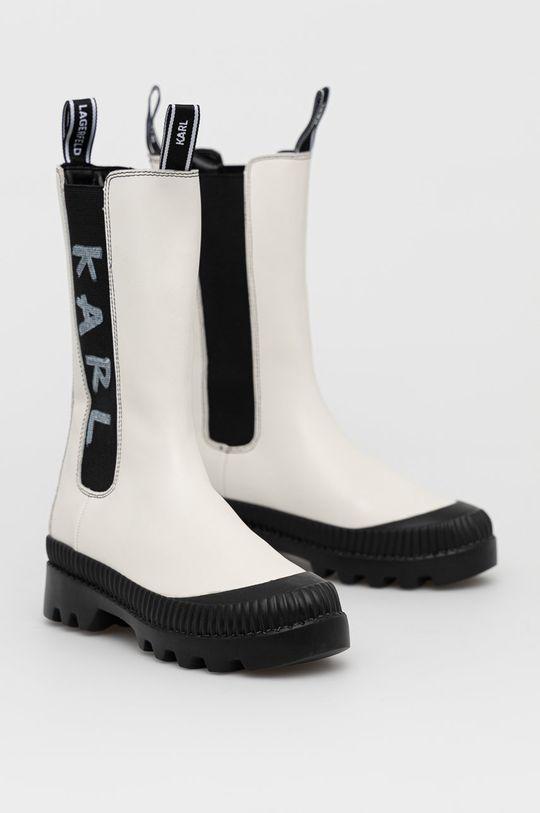 Karl Lagerfeld - Sztyblety skórzane biały
