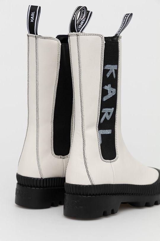 Karl Lagerfeld - Sztyblety skórzane Cholewka: Materiał tekstylny, Skóra naturalna, Wnętrze: Materiał syntetyczny, Skóra naturalna, Podeszwa: Materiał syntetyczny
