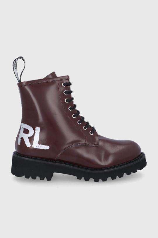 kasztanowy Karl Lagerfeld - Workery skórzane Troupe Damski