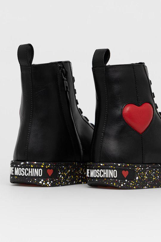 Love Moschino - Trampki skórzane Cholewka: Materiał syntetyczny, Skóra naturalna, Wnętrze: Materiał syntetyczny, Materiał tekstylny, Podeszwa: Materiał syntetyczny