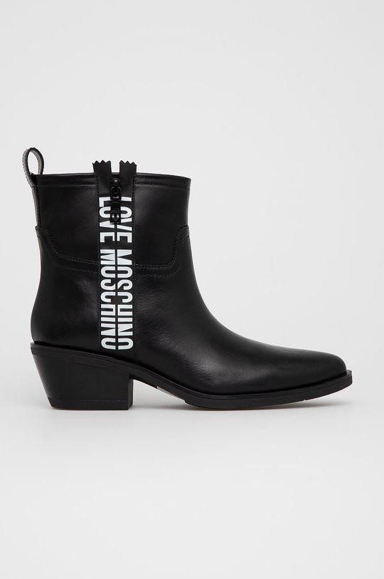 černá Love Moschino - Westernové kožené boty Dámský