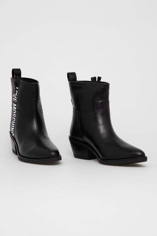 Love Moschino - Westernové kožené boty černá