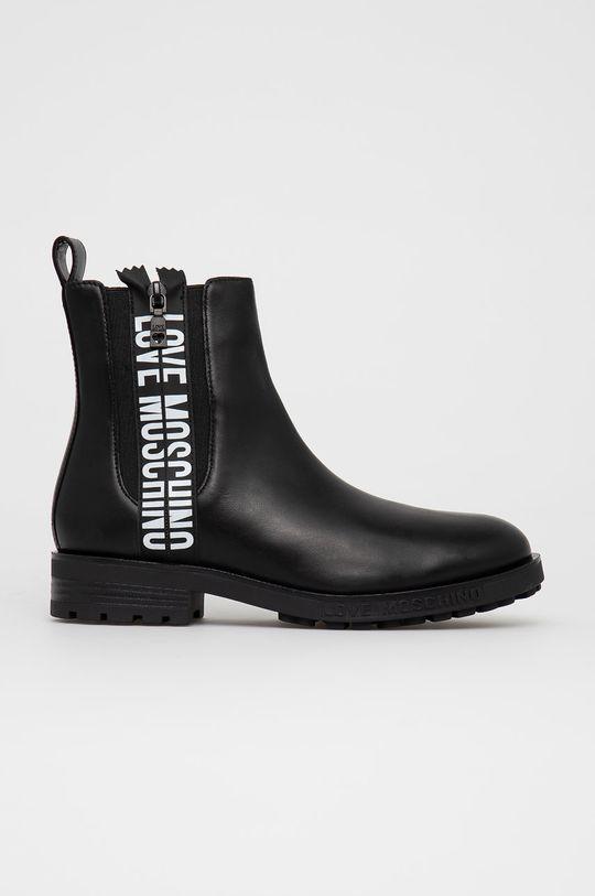 černá Love Moschino - Kožené kotníkové boty Dámský