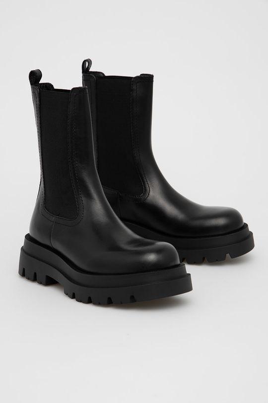 Twinset - Kožené kotníkové boty černá