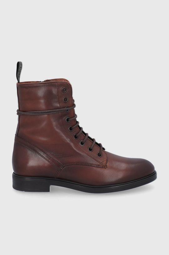 kaštanová Marc O'Polo - Kožené kotníkové boty Dámský