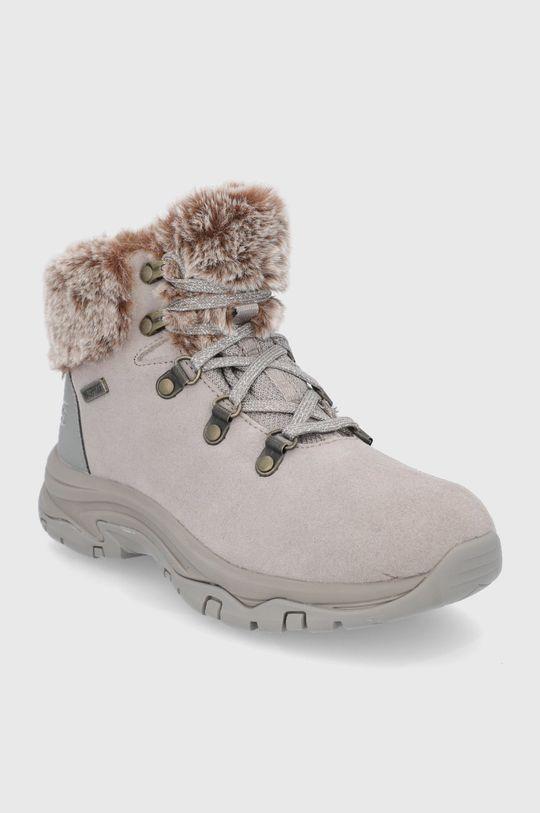 Skechers - Semišové sněhule šedá