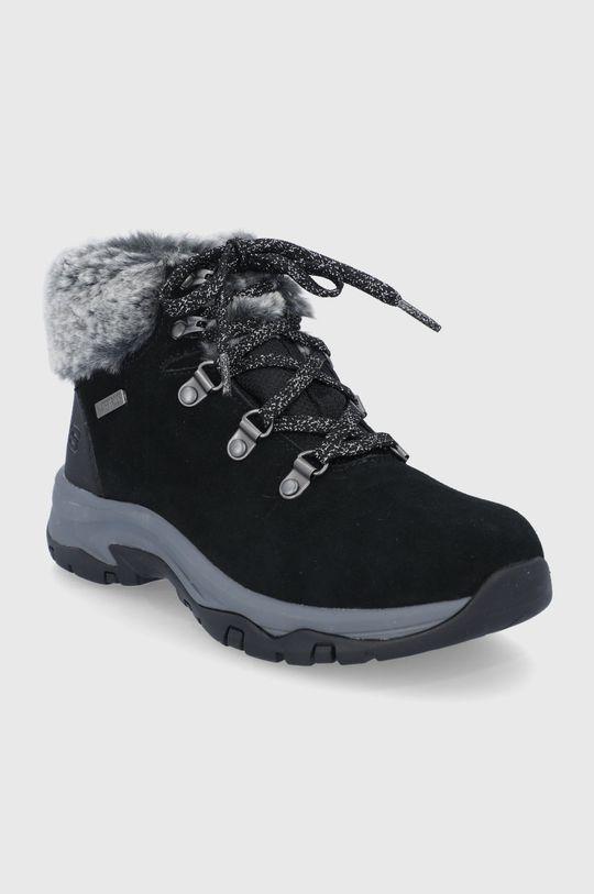 Skechers - Semišové sněhule černá