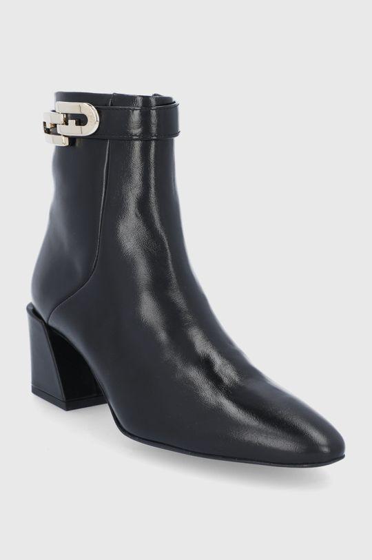 Furla - Kožené členkové topánky Chain čierna